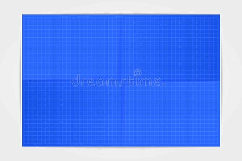 Template blueprint sheet of paper folded in four on a white back royalty free stock photography