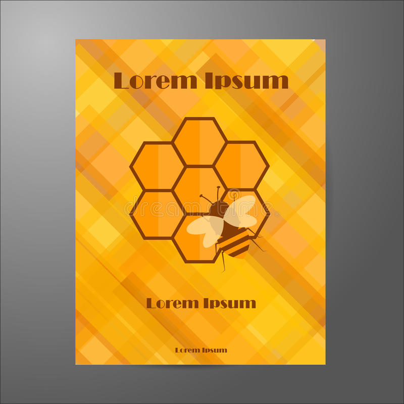 Template of booklet on beekeeping theme stock photo