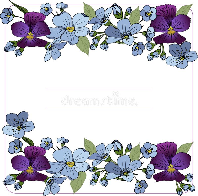 Template with bouquet of spring blue flowers Pansy and Anemones vector illustration