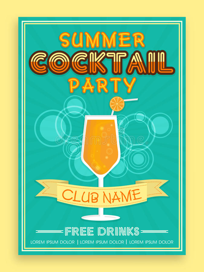Template Brochure Or Flyer Design For Cocktail Party Stock