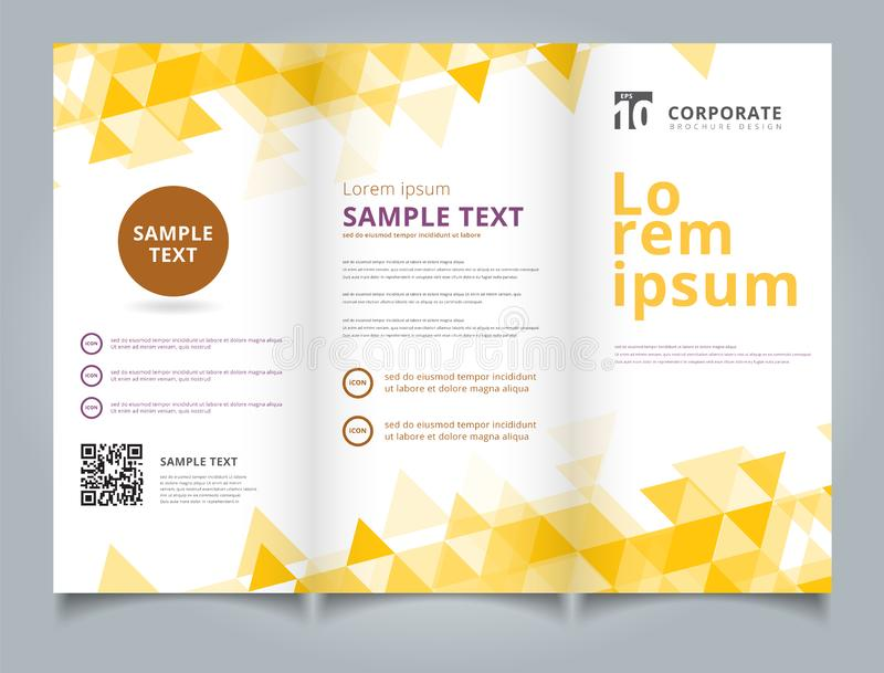 Template brochure layout design abstract yellow triangles geometric on white background. royalty free illustration