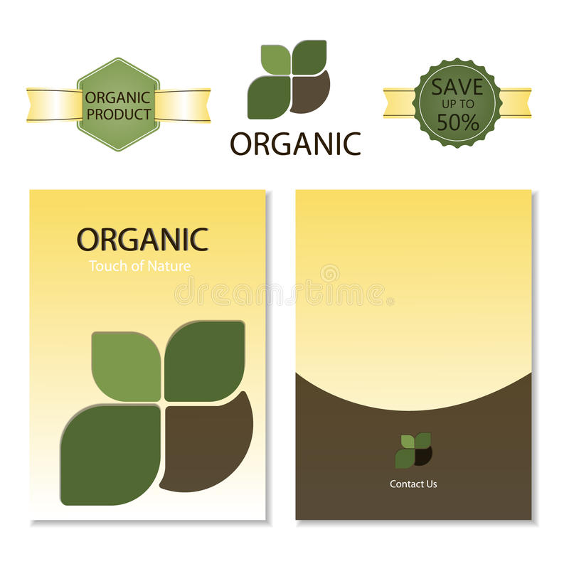 Template for Business artworks. Nature. Brochure Organic and label Vector royalty free illustration