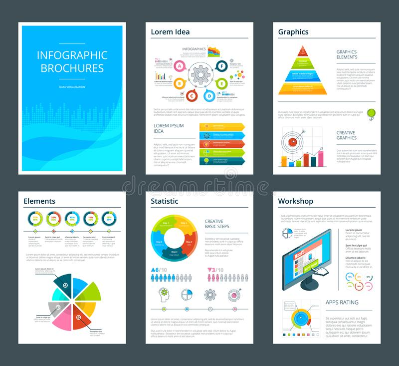 Template of business brochure with infographics stock illustration