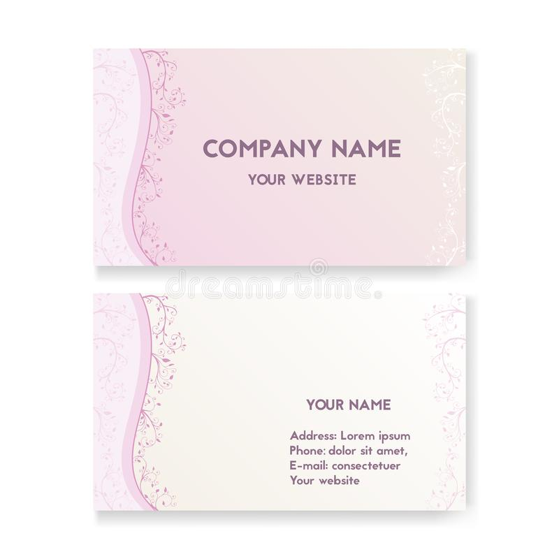 Template business card for wedding salon stock vector template business card for wedding salon layout for print vector illustration pink and white the concept of bridal shop beautiful flowers with swirls reheart Gallery