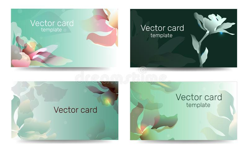 Template of business cards in green color with a design element. Text frame. Web design elements.  royalty free illustration