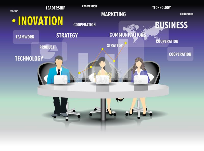 Template of business people team sitting at the table. stock illustration