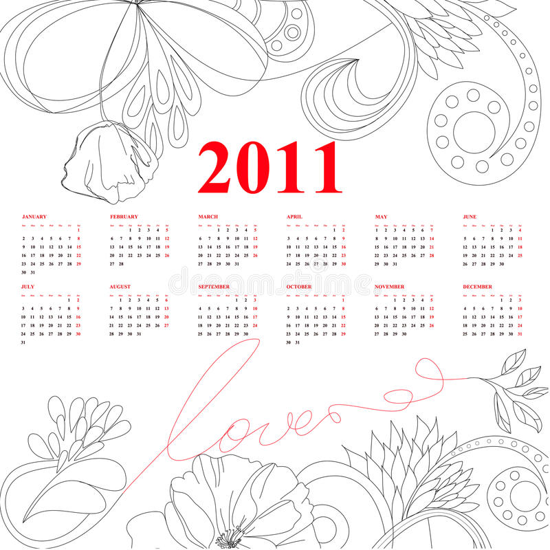 Template for calendar for 2011 stock photography