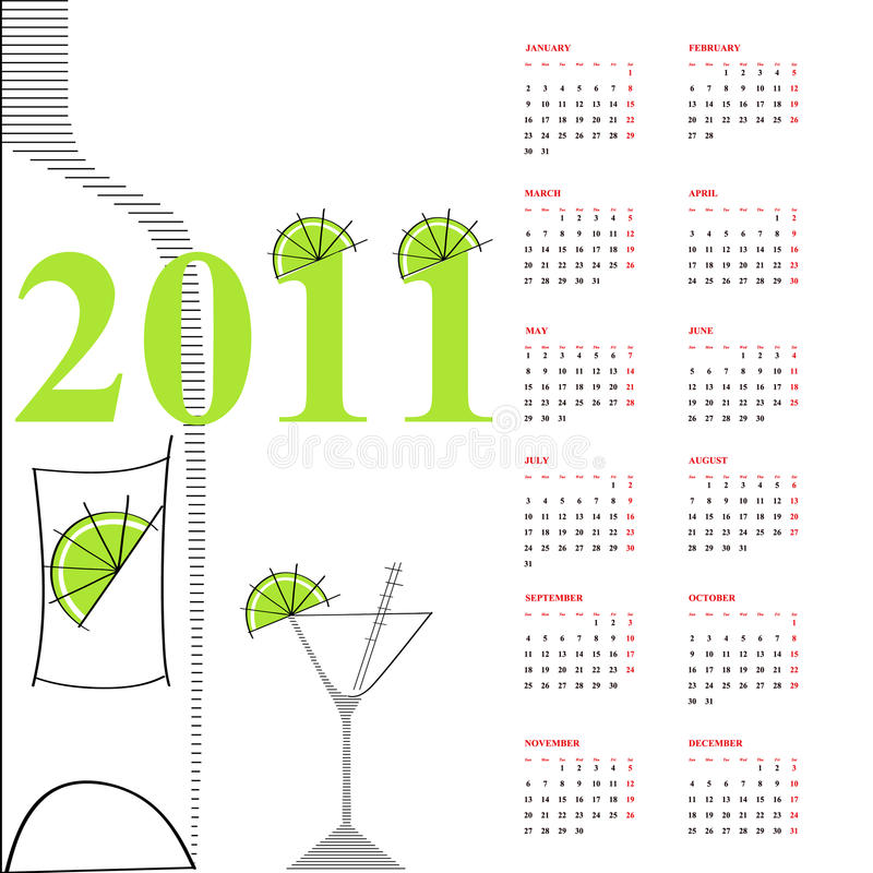 Template for calendar 2011. Universal template for greeting card, web page, background vector illustration
