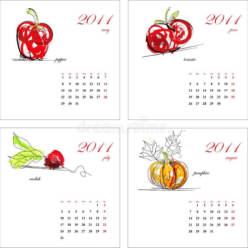 Template for calendar 2011. Vegetable royalty free stock photos