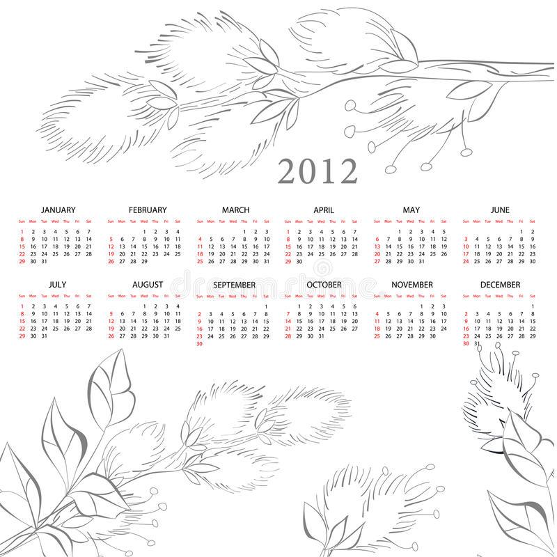 Download Template for calendar 2012 stock vector. Image of 2012 - 21586790