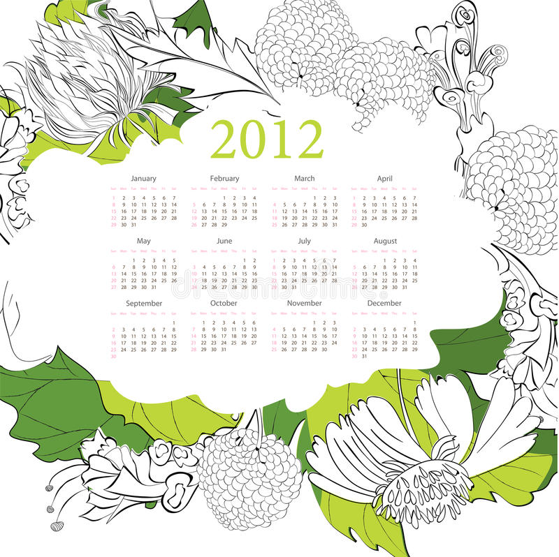 Template For Calendar 2012 Royalty Free Stock Images