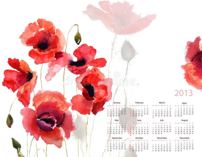 Template For Calendar 2013 Stock Image