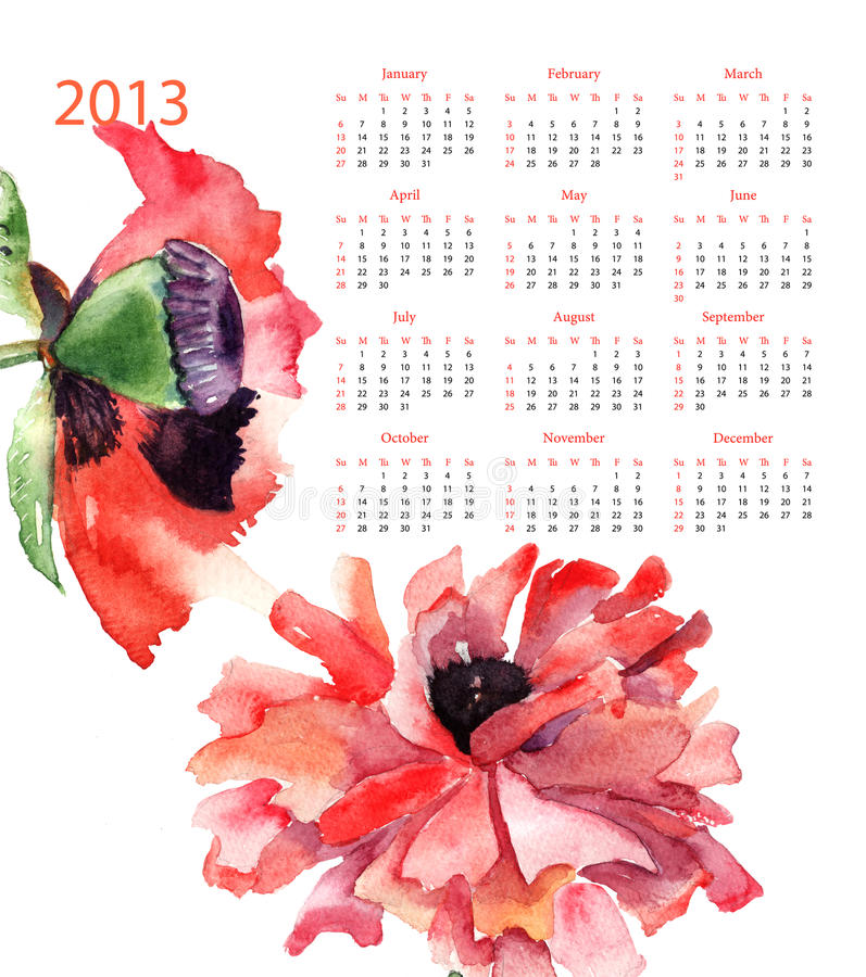 Download Template for calendar 2013 stock illustration. Image of decoration - 27155682