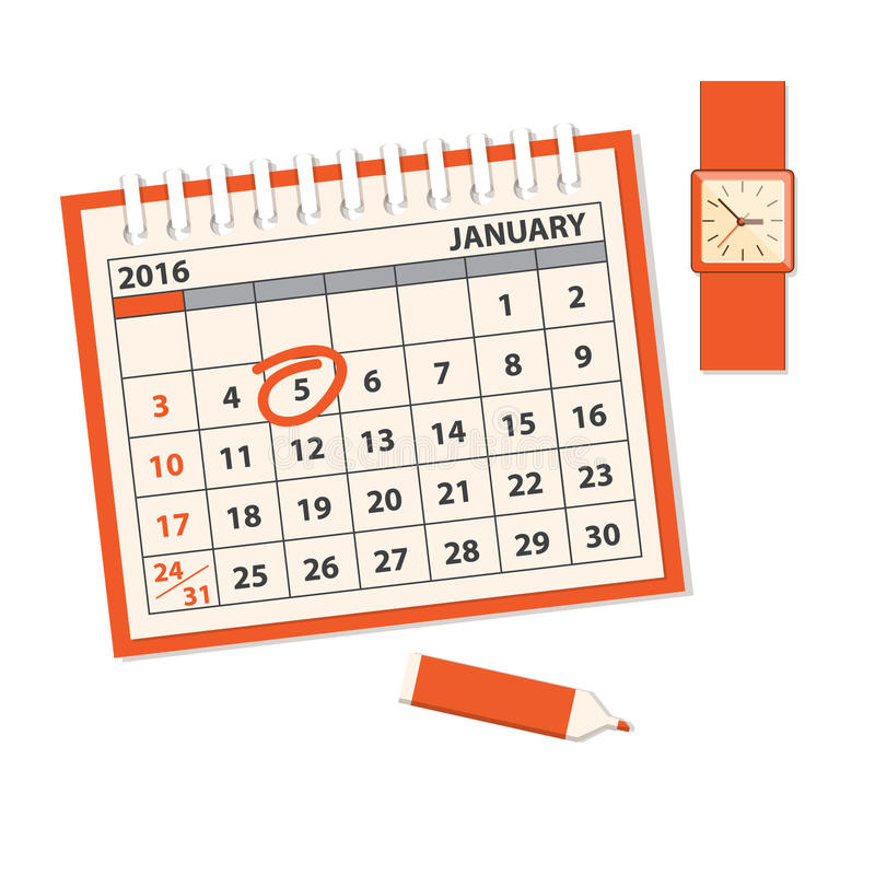Template Of The Calendar With Clock Stock Vector Illustration Of