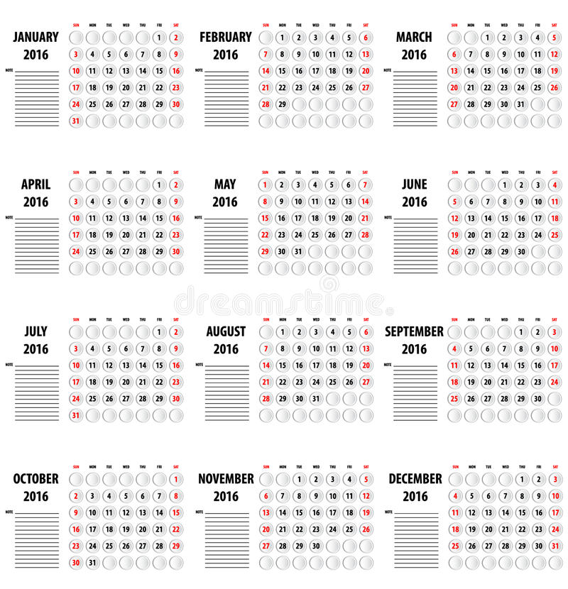template of calendar for 2016 stock vector illustration of diary