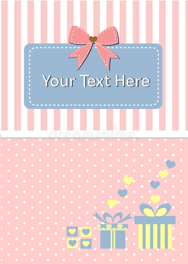 Template card decorated by gift box and bow royalty free stock photography