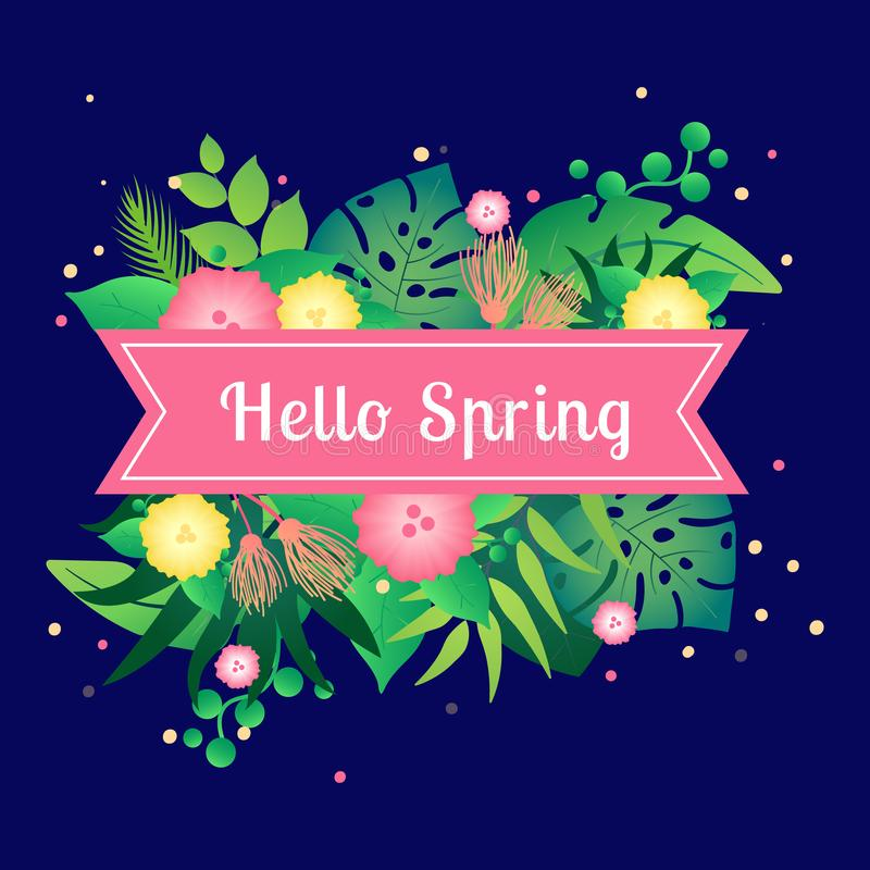 Template card hello spring with tropical leafs royalty free illustration