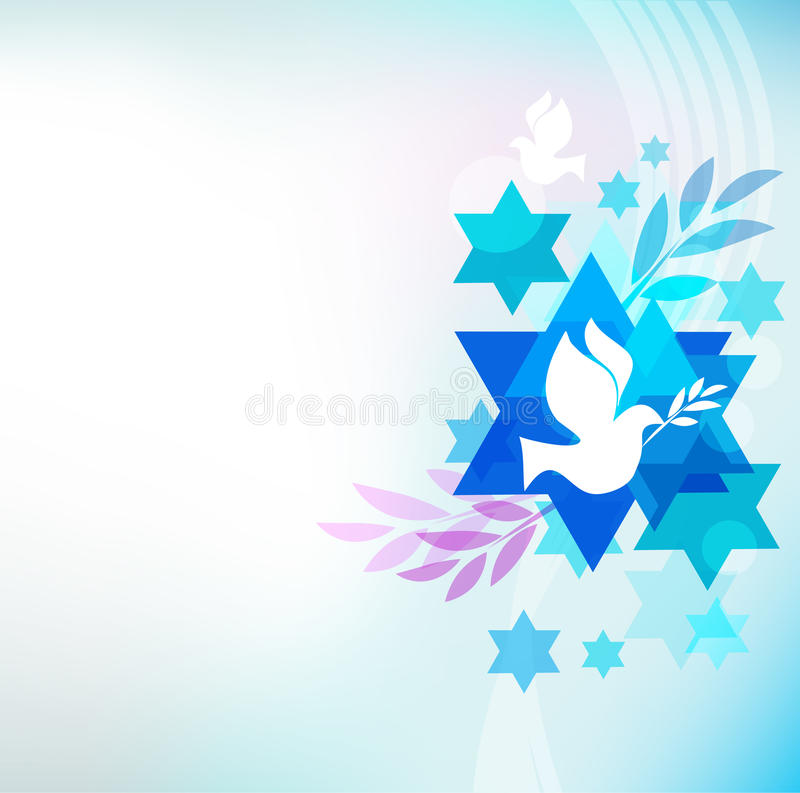 Template card with jewish symbols stock illustration