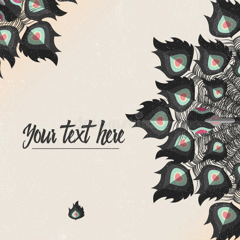 Template card with peacock colorful feathers and place for text. Vector illustration vector illustration
