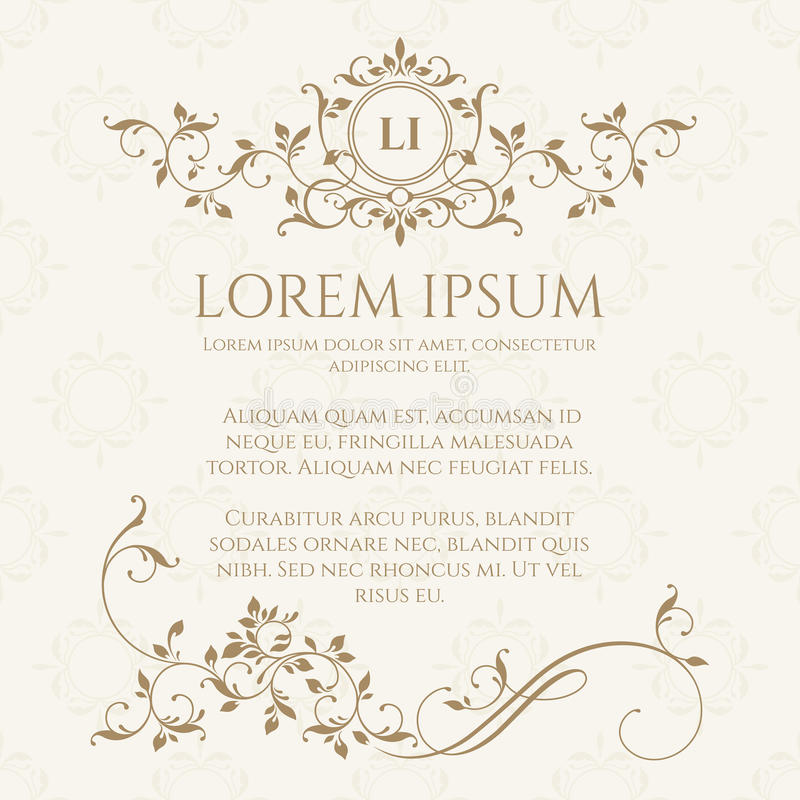 Template cards. Floral monogram and border. vector illustration