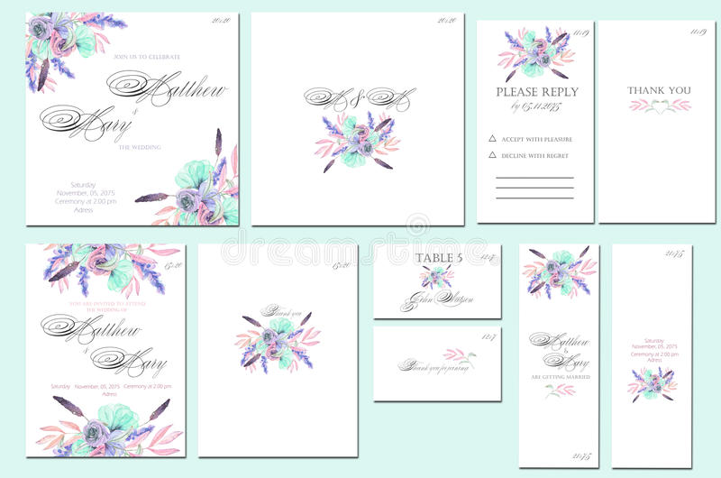 Download Template Cards Set With Watercolor Pink And Blue Flowers Stock Illustration - Image: 83702306