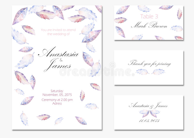 Download Template Cards Set With Watercolor Purple And Blue Leaves Stock Illustration - Image: 83701776