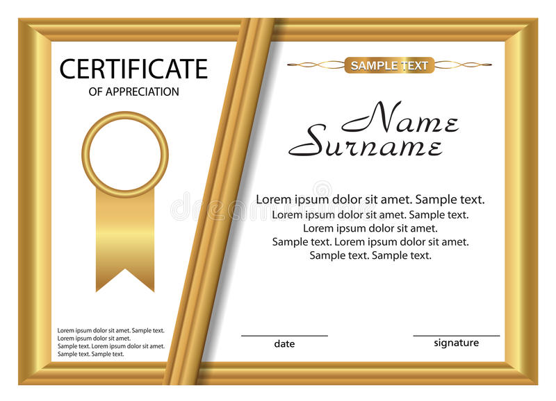 Template Certificate Of Appreciation Gold Design Vector Stock