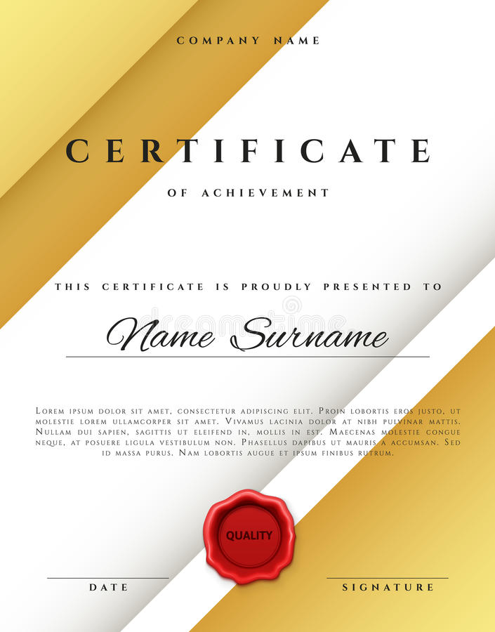 Template Certificate Design In Gold Color Stock Vector Illustration Of Achievement