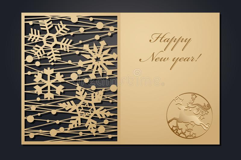 Template Christmas cards for laser cutting. Through silhouette New Year`s picture. vector illustration. vector illustration