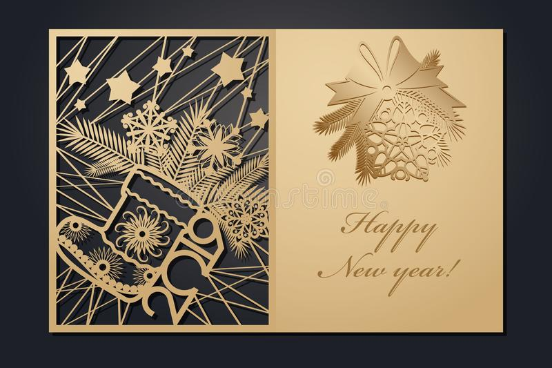 Template Christmas cards for laser cutting. Through silhouette New Year`s picture. vector illustration. Template Christmas cards for laser cutting. Through royalty free illustration