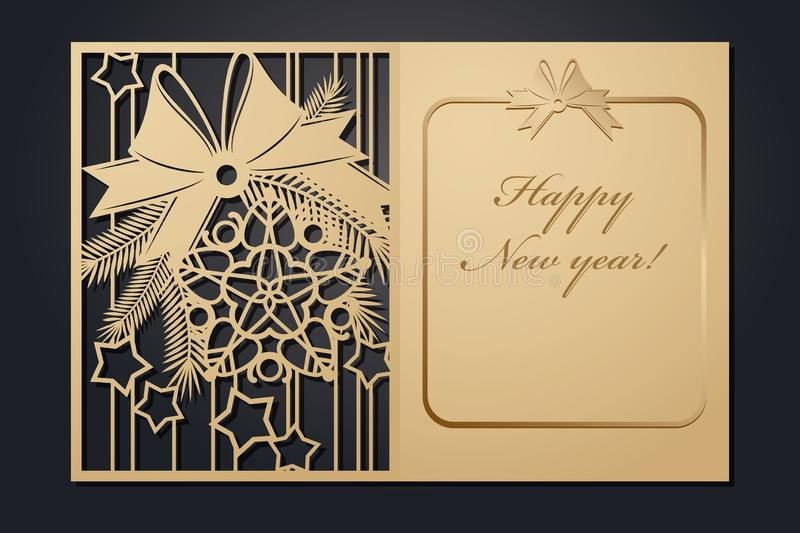 Template Christmas cards for laser cutting. Through silhouette New Year`s picture. vector illustration. Template Christmas cards for laser cutting. Through stock illustration