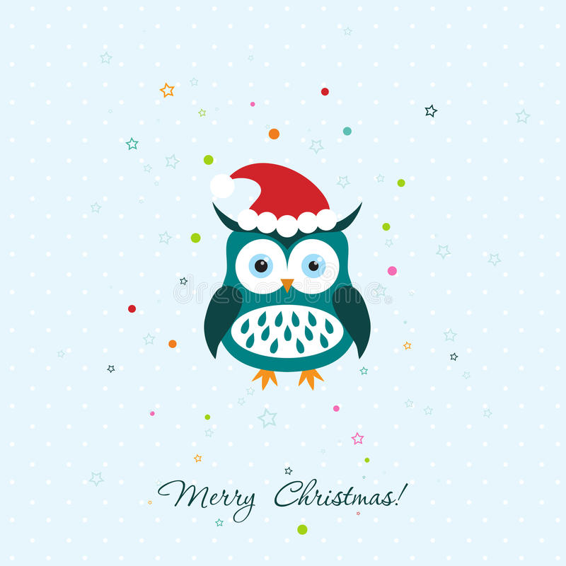Template Christmas greeting card with a owl, vector vector illustration