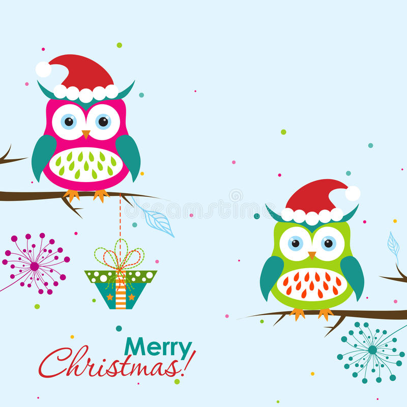 Template Christmas greeting card with a owl, vector royalty free stock images