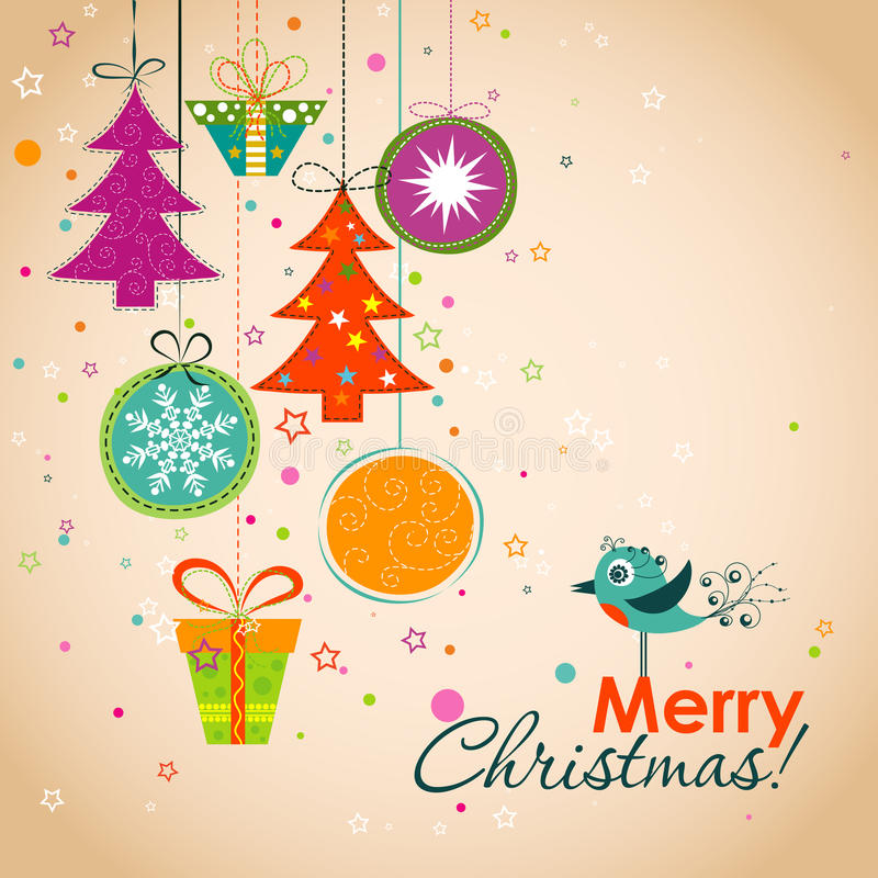 Free Template Christmas Greeting Card, Ribbon, Vector Stock Photo - 43181850