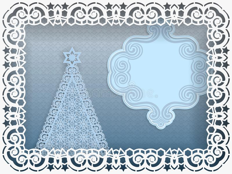 Template for Christmas greetings. Christmas tree in a frame with lace curbs on the edge. Label with a place for an inscription. Al royalty free illustration