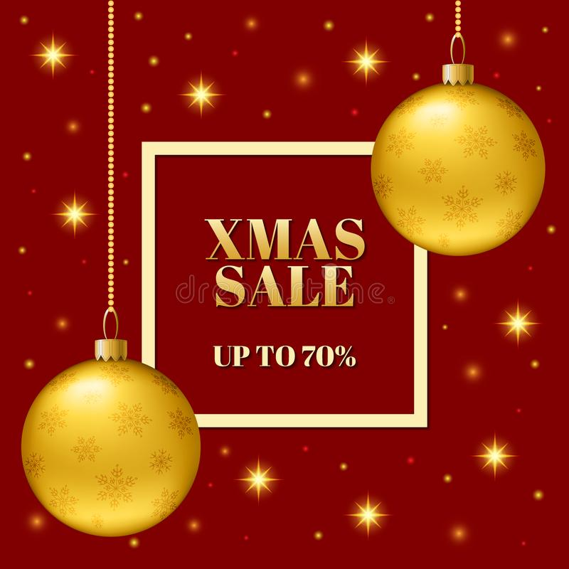 Template of the Christmas sale of the banner. Realistic balls with snowflakes. vector illustration