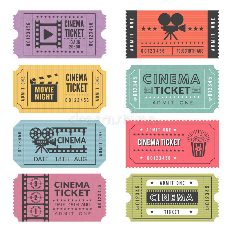 Template of cinema tickets. Vector designs of various cinema tickets with illustrations of video cameras and other tools. Ticket to entertainment cinema, movie vector illustration