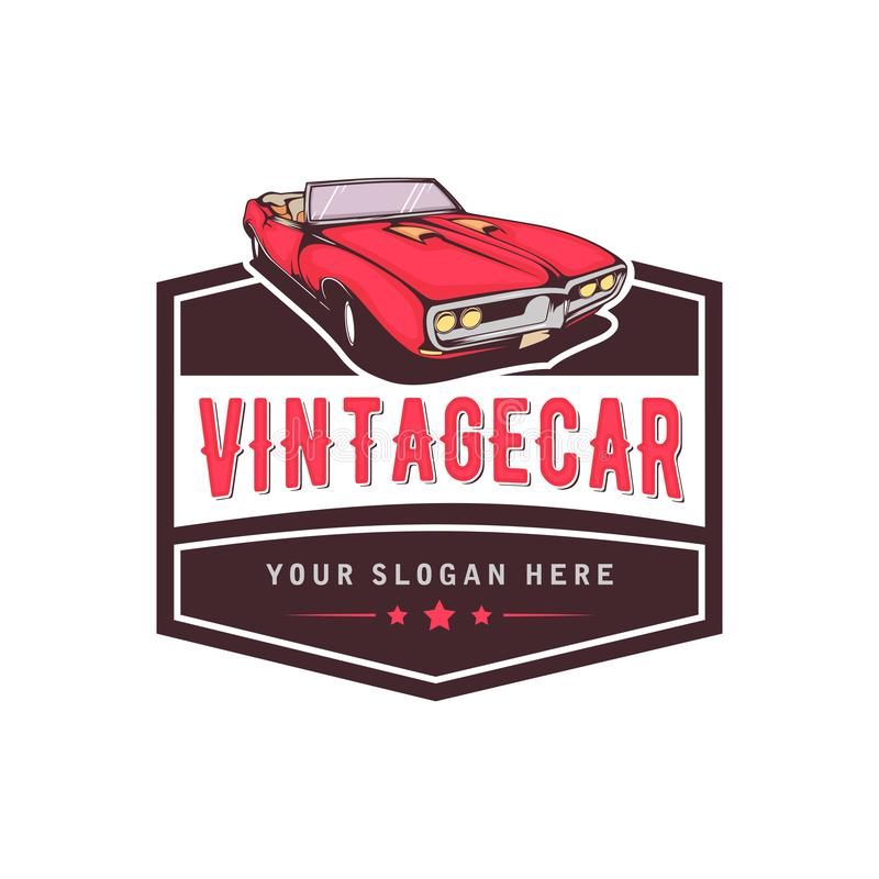 A template of classic or vintage or retro car logo design. vintage style stock illustration