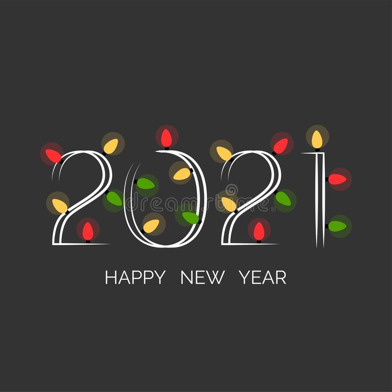 Colorful Happy New Year 2021 Background Stock Illustration ...