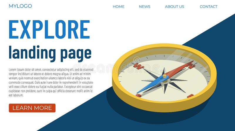 Tourism template concept. Template concept for a web page on the topic of world exploration, tourism, travel. Isometric illustration of a compass with high vector illustration