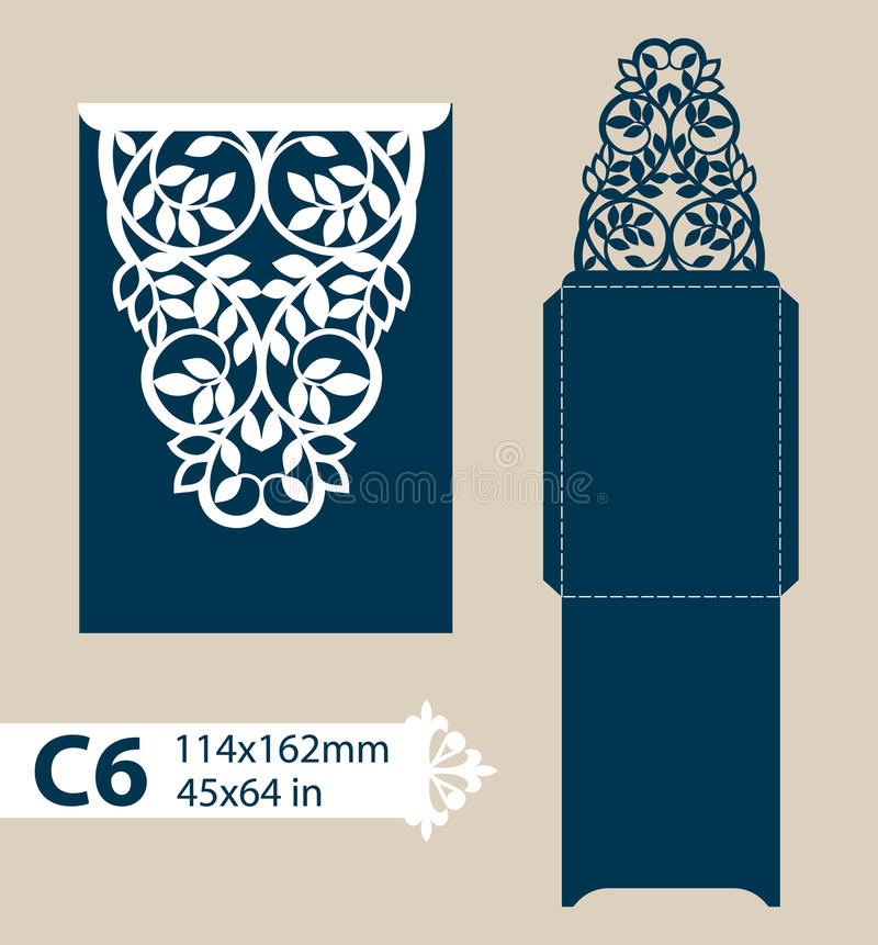 Template congratulatory envelope with carved openwork pattern. Template is suitable for greeting cards, invitations, menus, etc. Picture suitable for laser vector illustration