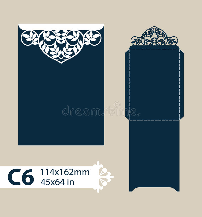 Template congratulatory envelope with carved openwork pattern stock illustration