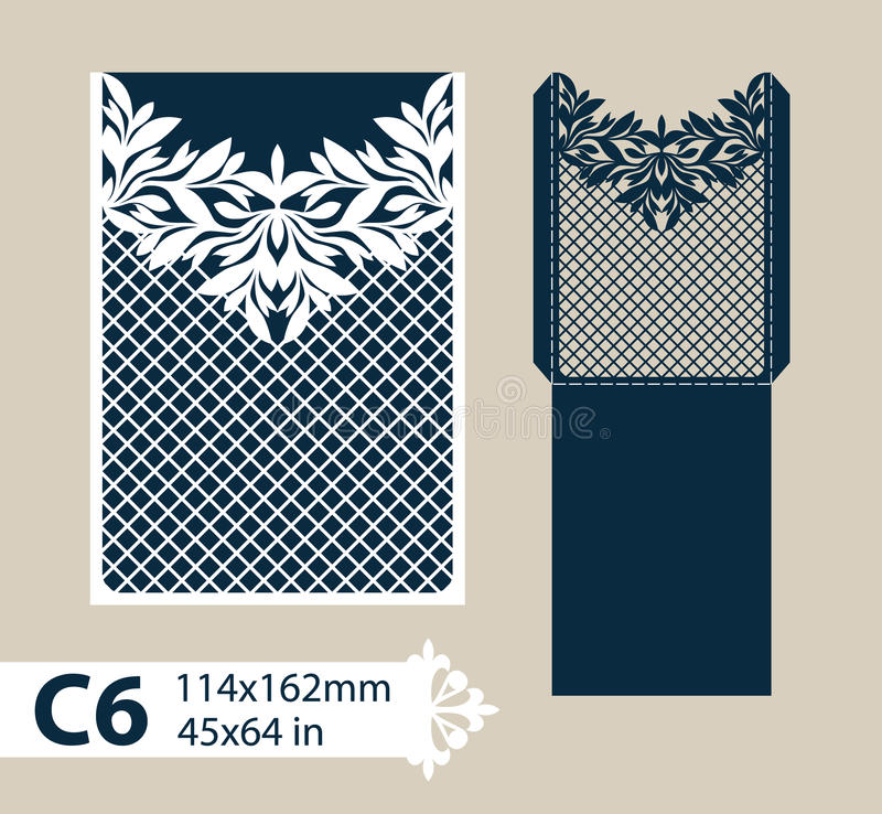 Template congratulatory envelope with carved openwork pattern vector illustration