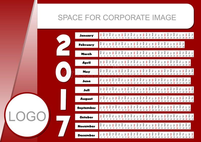 Template For Corporate Calendar 2017 In Dark Red Color. Unusual ...