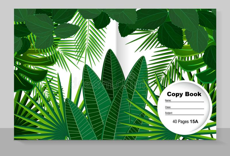 Template cover of a copybook: tropical leaves. Vector illustration. vector illustration