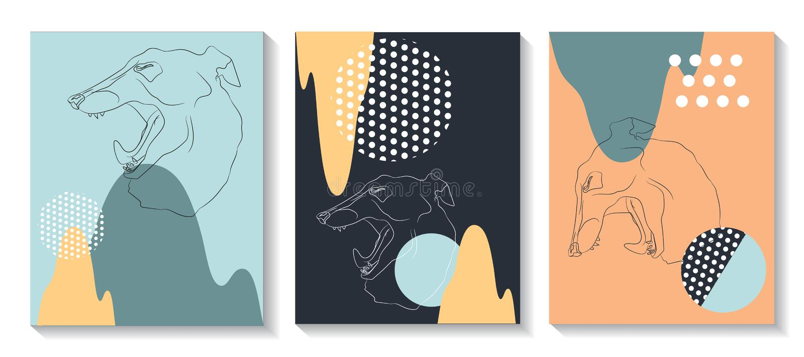 Template covers are set with graphic geometric elements, with do stock illustration