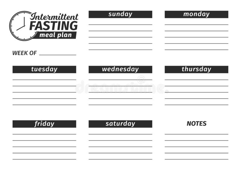 Template for the creation of the food menu. Vector illustration. Seven-day horizontal meal plan of Intermittent fasting. Template for the creation of the stock illustration