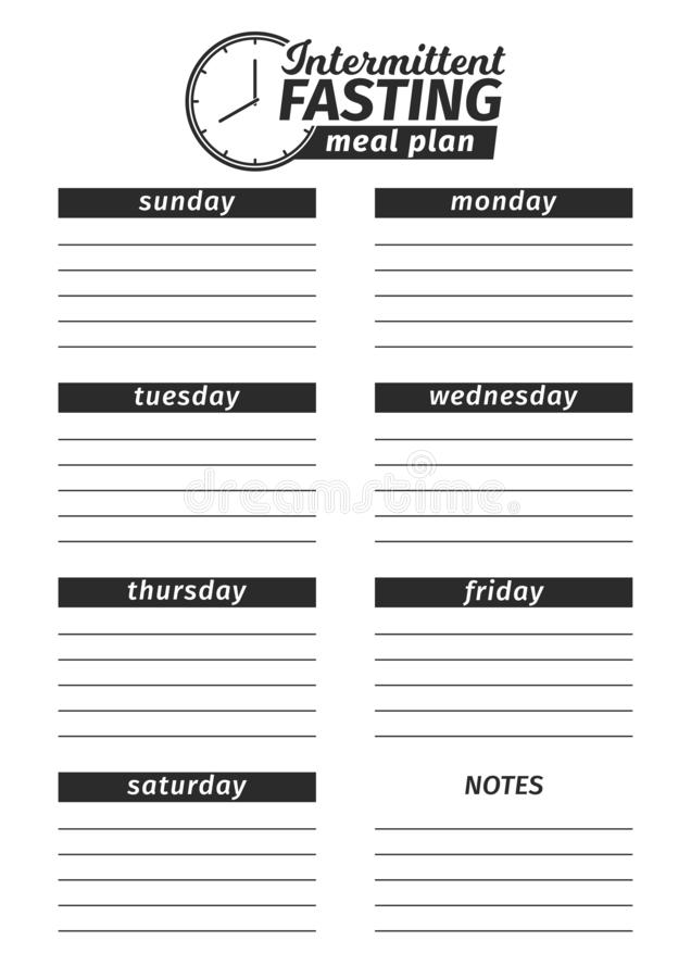Template for the creation of the food menu. Vector illustration. Seven-day vertical meal plan of Intermittent fasting. Template for the creation of the royalty free illustration