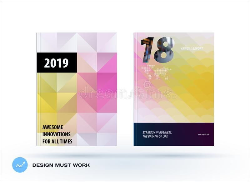 Template. Creative abstract design of brochure set, horizontal cover, flyer in A4. With colourful triangles for branding. Business vector presentation on vector illustration