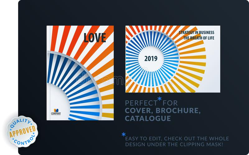 Template. Creative abstract minimal design of brochure set, annual report, horizontal cover. Flyer in A4 with colourful rays, circles for branding. Business stock illustration
